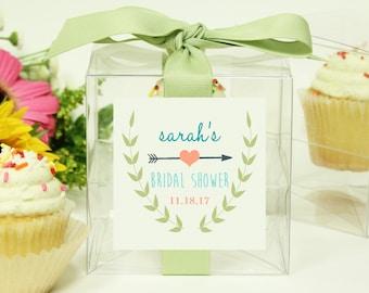 8 - Bridal Shower Favor Boxes / Cupcake Boxes - Ivy Label - ANY COLOR - wedding favors, bridal shower cupcake box, personalized favor box
