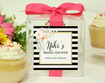 Bridal Shower Favor Boxes | Bridal Shower Cupcake Boxes - Niki Label - Personalized Favor Box | Wedding Favor Box - ANY OCCASION - set of 12