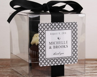 8 - Personalized Cupcake Boxes - Metro Design - ANY COLOR - wedding favors, wedding cupcake box, personalized cupcake box, clear cupcake box