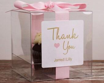 8 - Wedding Favor Cupcake Boxes - Thank You Design - ANY COLOR- wedding favors, wedding cupcake box, personalized cupcake box, thank you box