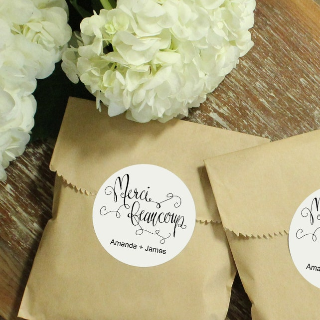 24 Paper Favor Bags Merci Beaucoup Label Wedding Favor Bag