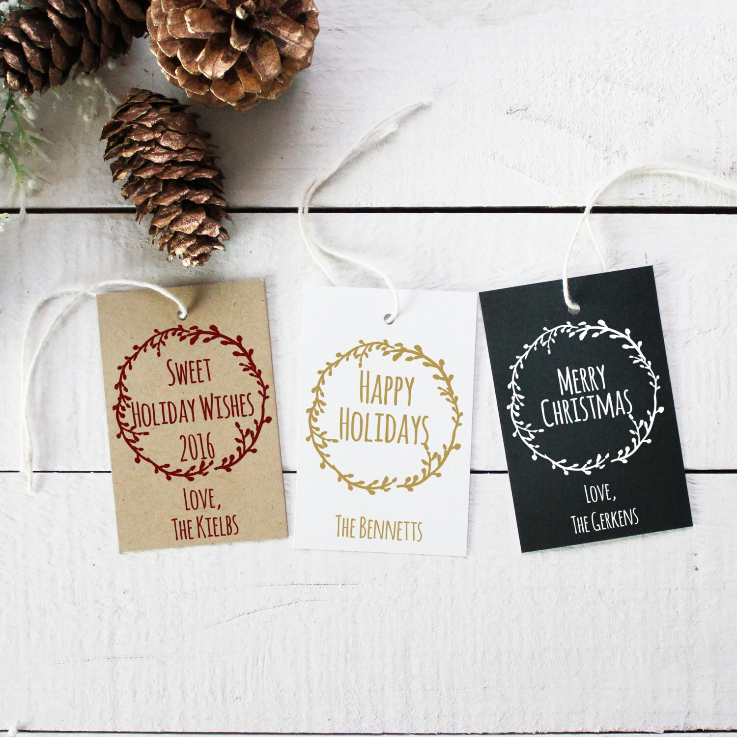 Set of 18 Laurel Chalkboard Holiday Gift Tags Personalized   Etsy