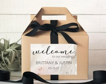 Set of 6-Out of Town Guest Box   Wedding Welcome Box   Wedding Welcome Bag   Out of Town Guest Bag   Wedding Favor  Marble Label Design