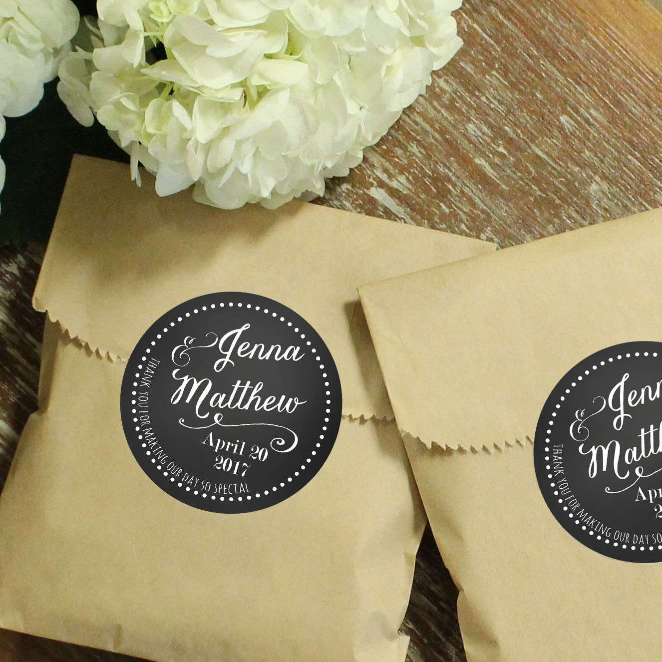 Wedding Labels For Gift Bags: 24 Wedding Favor Bags With Personalized Labels Jenna Label