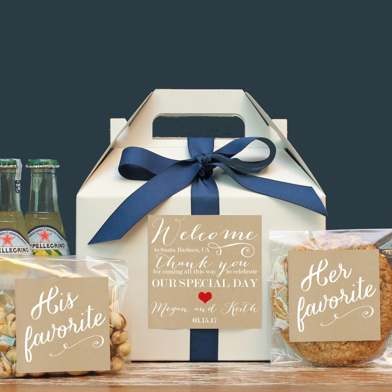 Set of 6-Out of Town Guest Box  Wedding Welcome Box  Wedding Welcome Bag  Out of Town Guest Bag  Wedding Favor  Niki  Label
