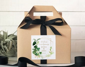 Set of 6-Out of Town Guest Box   Wedding Welcome Box   Wedding Welcome Bag   Out of Town Guest Bag   Wedding Favor  Tropical Leaves Label