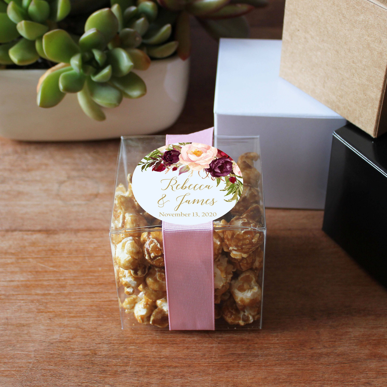 12 Wedding Favor Boxes Marsala Label Design Personalized Etsy