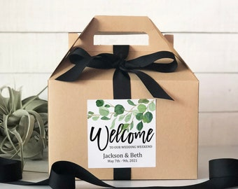 Set of 6-Out of Town Guest Box   Wedding Welcome Box   Wedding Welcome Bag   Out of Town Guest Bag   Wedding Favor   Eucalyptus Label Design