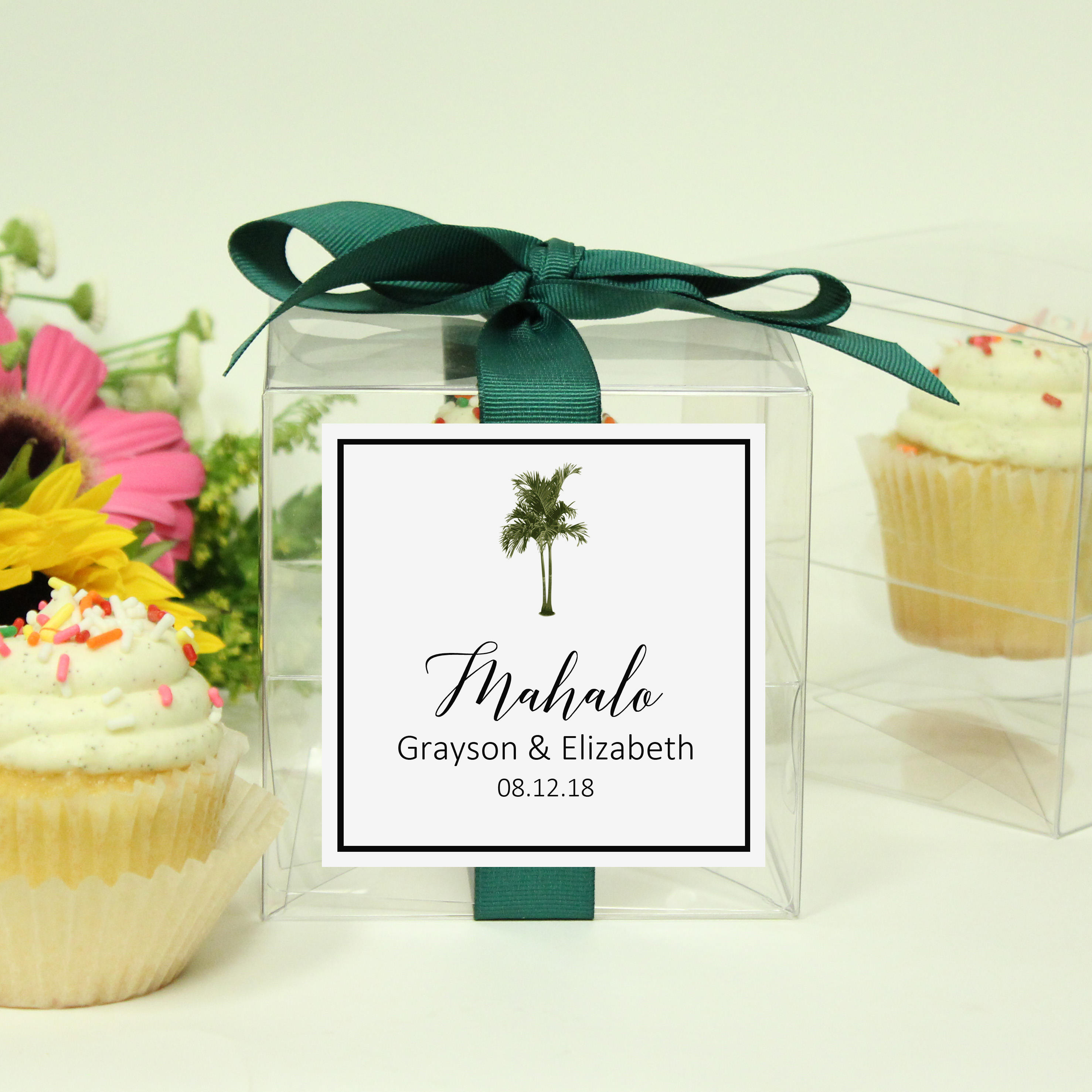 8 Vintage Palm Tree Cupcake Boxes Tropical Wedding Favor Etsy
