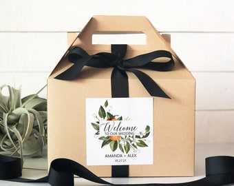 Set of 6-Out of Town Guest Box   Wedding Welcome Box   Wedding Welcome Bag   Out of Town Guest Bag   Wedding Favor  Orange Blossom Label