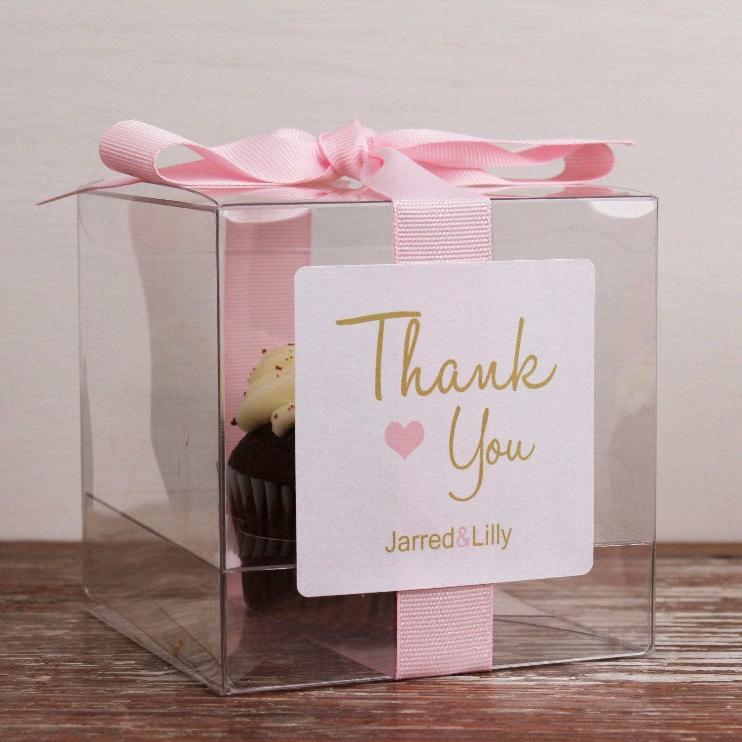 8 Wedding Favor Cupcake Boxes Thank You Design Any Etsy