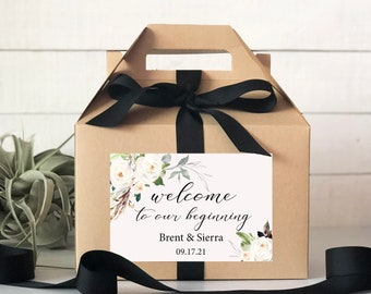 Set of 6-Out of Town Guest Box   Wedding Welcome Box   Wedding Welcome Bag   Out of Town Guest Bag   Wedding Favor   Neutral Floral Label