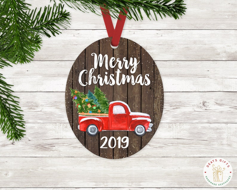 Red Christmas Truck Ornament with Merry Chrismas and 2019 image 0
