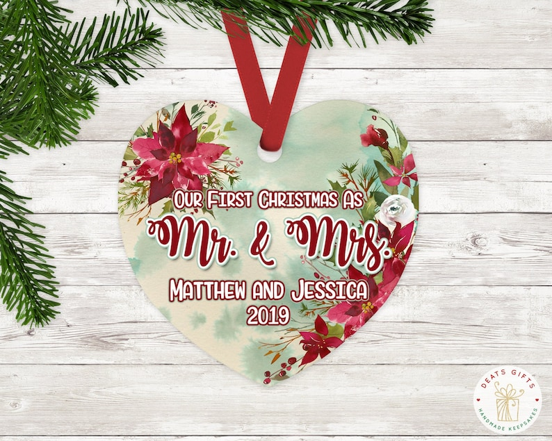Personalized Just Married Christmas Ornament Heart Ornament image 0