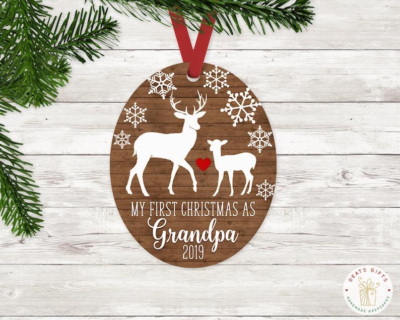 Personalized First Christmas as Grandpa Ornament Keepsake image 0