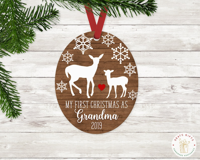 Personalized First Christmas as Grandma Ornament Keepsake image 0