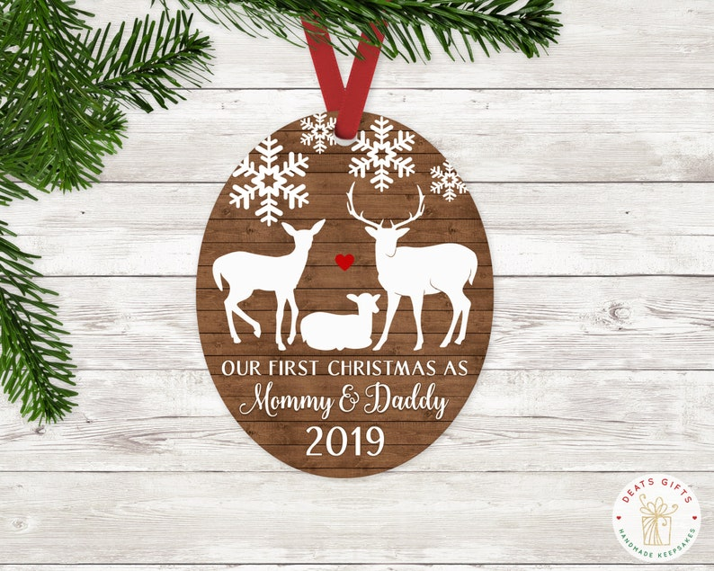 Personalized First Christmas as Mommy and Daddy Ornament image 0