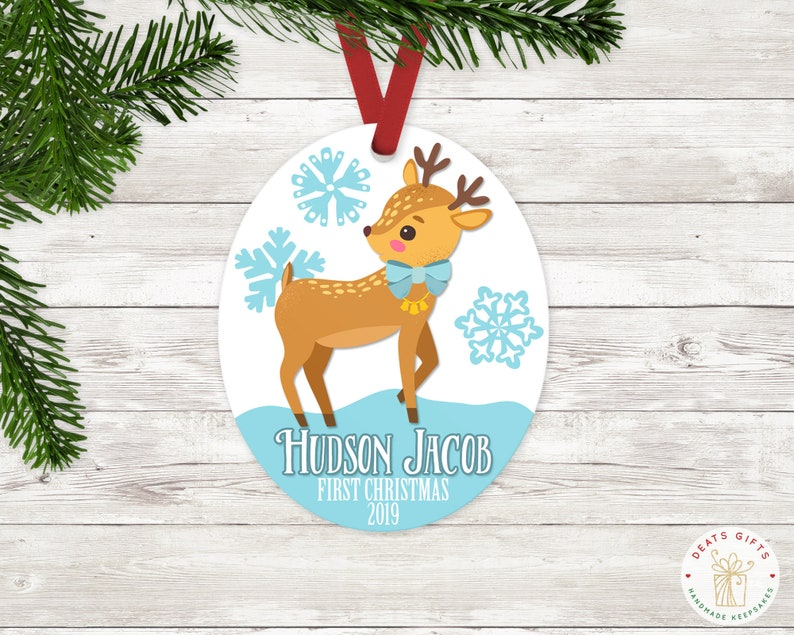 Personalized First Christmas Ornament Baby Boy Keepsake image 0