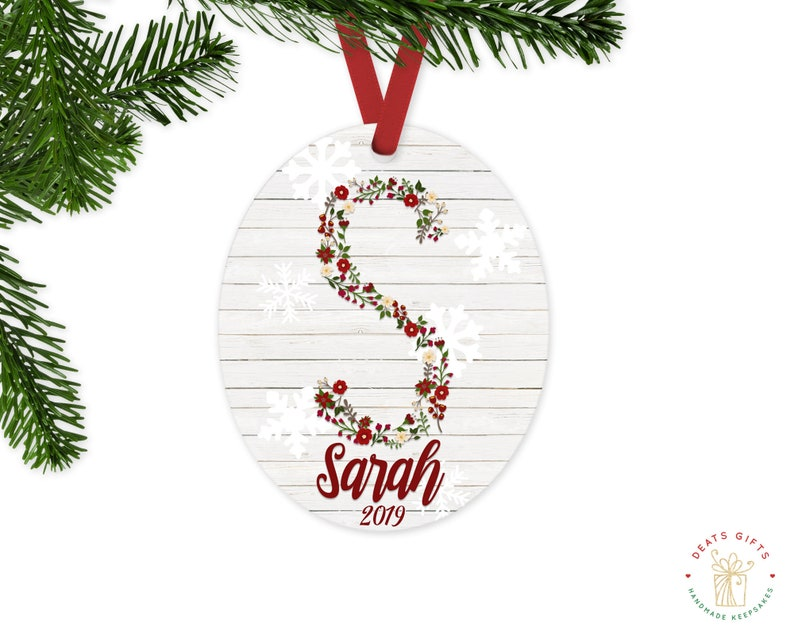 Personalized Monogram Christmas Ornament with Name and Year image 0