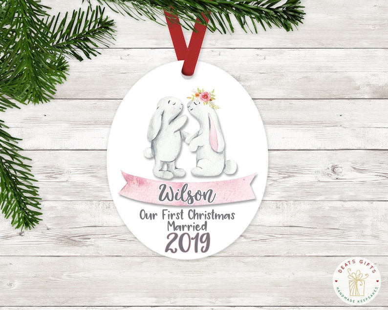 Personalized Just Married Christmas Ornament Wedding Gift image 0