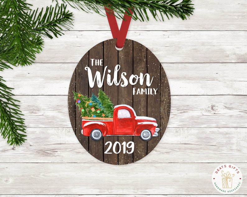 Personalized Red Christmas Truck Ornament with Last Name & image 0