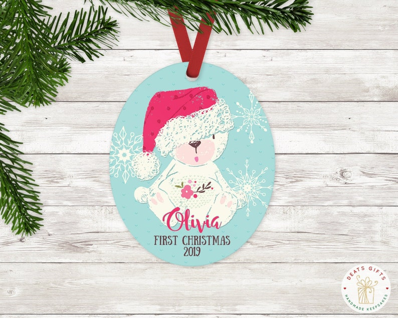 Personalized First Christmas Ornament Baby Girl Keepsake image 0