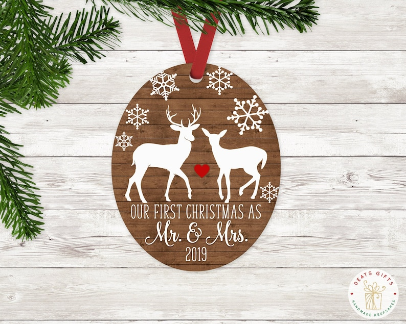 Just Married First Christmas as Mr. and Mrs. Ornament Wedding image 0