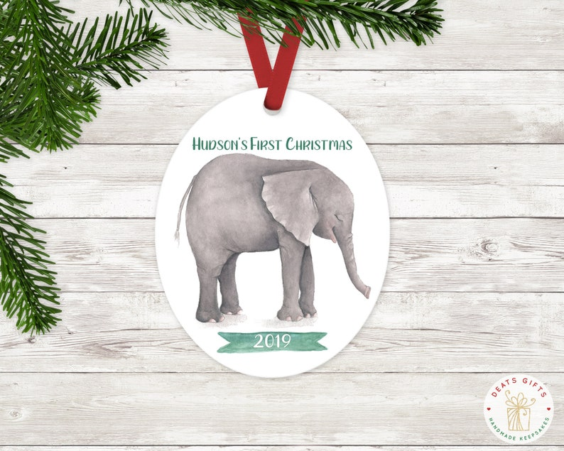 Personalized First Christmas Ornament Baby Boy Keepsake Green