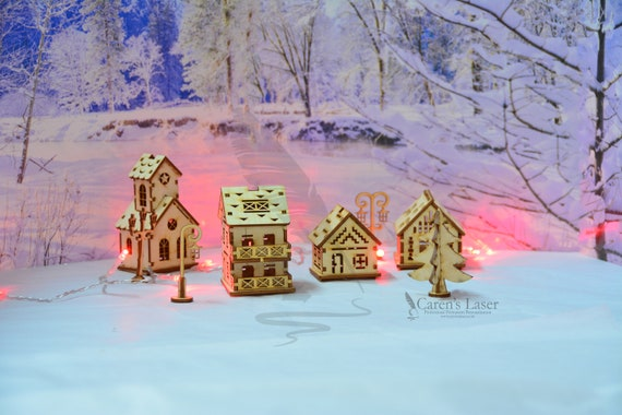 Miniature Christmas Village.Miniature Christmas Village Kit