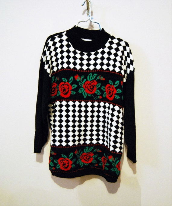 Vintage Sweater Hipster Red Roses With Black Etsy