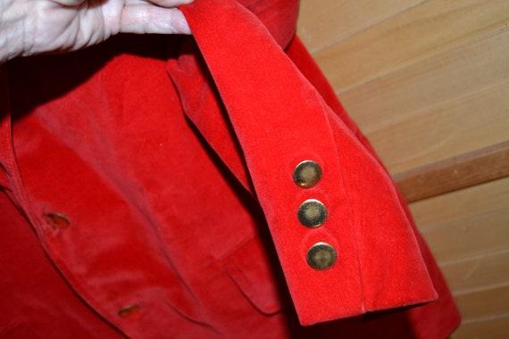 Vintage Mens Jacket, Blazer 1960's Red Velvet - image 3