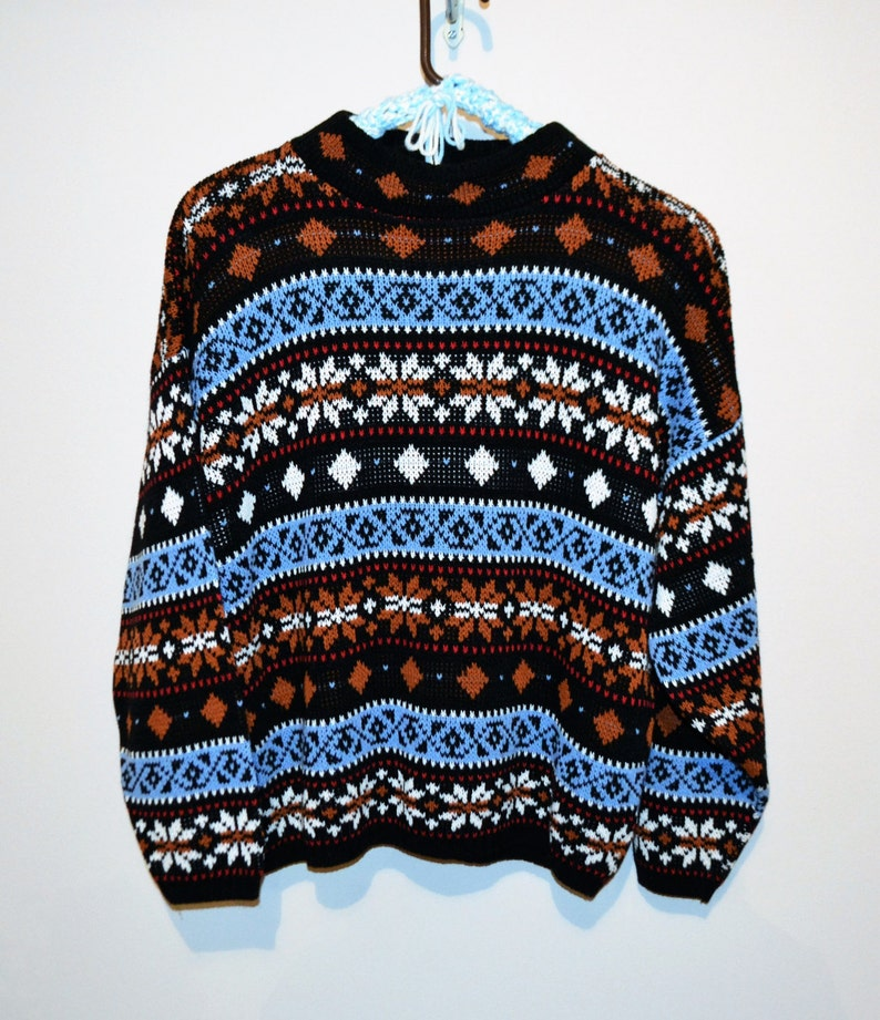 2332e1502850cd Vintage Retro   Hipster   New Wave Snowflake Sweater