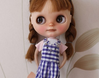 Gingham plaid Kitty cat overall dungaree shorts for Blythe