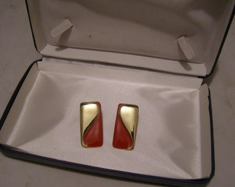 Vintage Gold and Bright Red Thermoset Rectangular Post Earrings for Pierced Ears