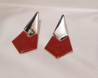 Vintage Silver and Blood Red Thermoset Two Piece Triangular Pierced Drop Post Earrings