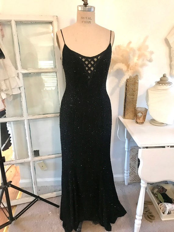 Beaded Gown, Black beaded Gown, Beaded Dress, Vint