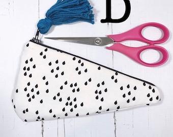 Scissor Cozy Pouch Set in black and white raindrops