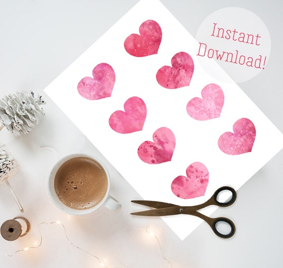 photo about Hearts Printable referred to as Purple Hearts Do-it-yourself quick down load, printable valentine, printable hearts, printable artwork, printable sbooking