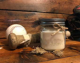 Wood and Musk Scented Candle | Mason Jar Candle | Soy Wax Candle | 8 oz Candle | Earthy Candle | Dye Free Candle | Crack of the Bat Scent