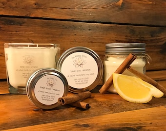 Lemon / Cinnamon Candle | Fresh Candle | Mason Jar Candle | Rustic Candle | Travel Candle | Soy Wax Candle | Lemon Loves Cinnamon Scent