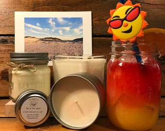 Peach / Orange / Cranberry Candle | Summer Candle | Cocktail Candle | Soy Wax Candle | Mason Jar Candle | Fun In The Dunes Scent