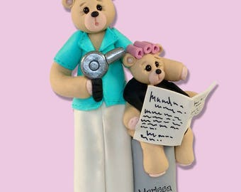 Belly  Bear Hairdresser - Beauty Shop - Personalized Ornament - Handcrafted Polymer Clay