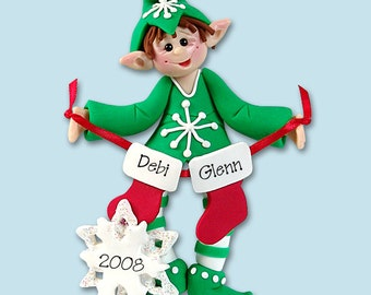 61256010ab80b Elf with Stockings Family of 2 Polymer Clay Personalized Christmas Ornament