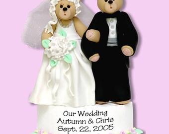 Belly Bear Bride & Groom Handmade Polymer Clay Personalized WEDDING Ornament - ON SALE!