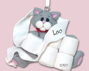 Gray Covid KITTY CAT w/White Muzzle Wrapped in Toilet Paper - HANDMADE Polymer Clay Personalized Christmas Ornament - Limited Edition