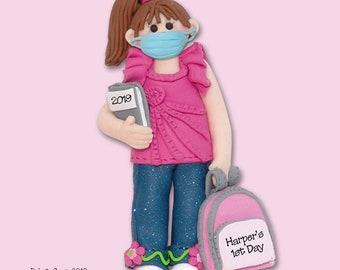 Covid-19 Female / Girl Back to School Pandemic / Coronavirus Personalized Christmas Quarantine Ornament - Handmade Polymer Clay SHIPS NOW!