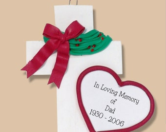 Loved one Personalized Memorial Christmas Cross Ornament Handmade Polymer Clay - Limited Edition