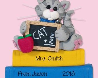 Personalized Teacher's Gift - Cat Teacher / School  Ornament - HANDMADE POLYMER CLAY Personalized Christmas Ornament - Custom Ornaments