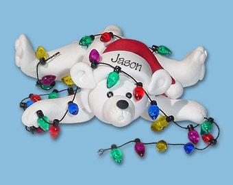 Polar Bear w/ Christmas Lights HANDMADE POLYMER CLAY Personalized Christmas Ornament