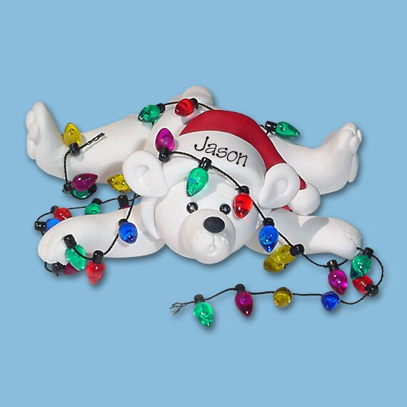 image 0 - Polar Bear W/ Christmas Lights HANDMADE POLYMER CLAY Etsy